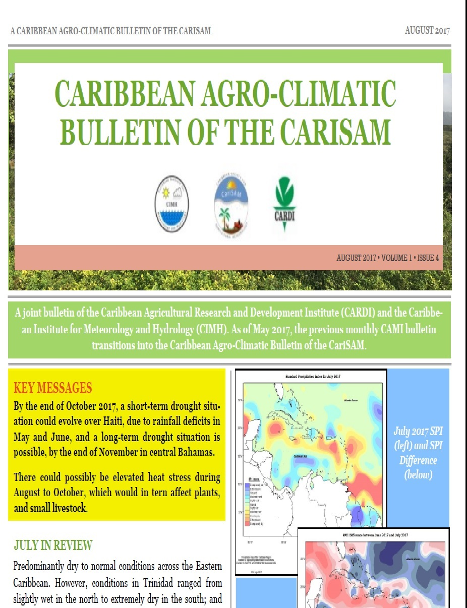 Caribbean Agro-climatic Bulletin of the CariSAM, August 2017
