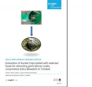 Evaluation of bucket traps baited with selected foods for attracting giant African snails, Lissachatina fulica (Bowdich) in Trinidad