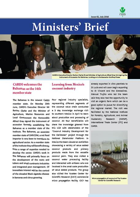 CARDI Ministers' Brief: Issue 02, July 2016